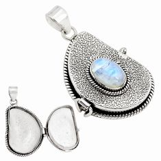 4.44cts natural rainbow moonstone 925 sterling silver poison box pendant p79839