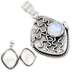 5.39cts natural rainbow moonstone 925 sterling silver poison box pendant p79854