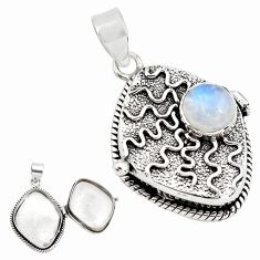 4.79cts natural rainbow moonstone 925 sterling silver poison box pendant p79855