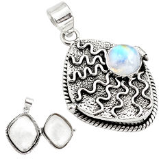 4.91cts natural rainbow moonstone 925 sterling silver poison box pendant p79856