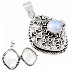 4.59cts natural rainbow moonstone 925 sterling silver poison box pendant p79859