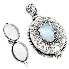 4.59cts natural rainbow moonstone 925 sterling silver poison box pendant p79861