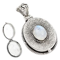 4.59cts natural rainbow moonstone 925 sterling silver poison box pendant p79910