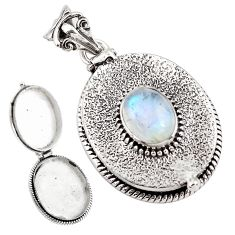 4.41cts natural rainbow moonstone 925 sterling silver poison box pendant p79912