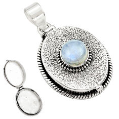 5.07cts natural rainbow moonstone 925 sterling silver poison box pendant p79919