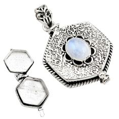 4.09cts natural rainbow moonstone 925 sterling silver poison box pendant p79934