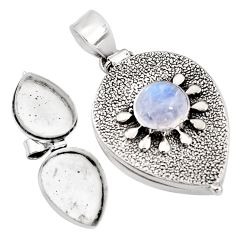 4.51cts natural rainbow moonstone 925 sterling silver poison box pendant p92871