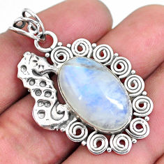 13.65cts natural rainbow moonstone 925 sterling silver seahorse pendant p59799