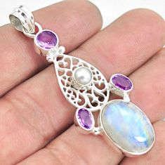 13.36cts natural rainbow moonstone amethyst 925 sterling silver pendant d31800