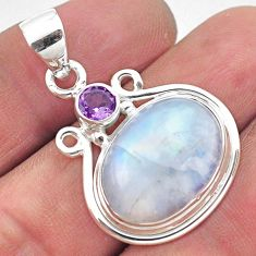 13.67cts natural rainbow moonstone amethyst 925 sterling silver pendant p86437