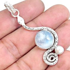 7.12cts natural rainbow moonstone pearl 925 sterling silver snake pendant p49276