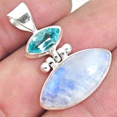 13.15cts natural rainbow moonstone topaz 925 sterling silver pendant p33654
