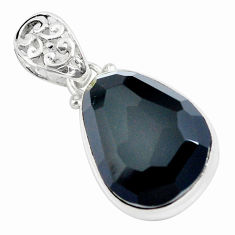 16.73cts natural rainbow obsidian eye fancy 925 sterling silver pendant p57872