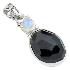 16.06cts natural rainbow obsidian eye moonstone 925 silver pendant p79136