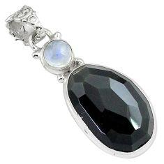 16.73cts natural rainbow obsidian eye moonstone 925 silver pendant p79137