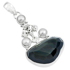 21.67cts natural rainbow obsidian eye pearl 925 silver holy cross pendant p69619