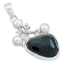 18.47cts natural rainbow obsidian eye pearl 925 silver holy cross pendant p69639