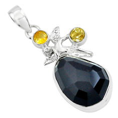 17.69cts natural rainbow obsidian eye silver angel wings fairy pendant p69604