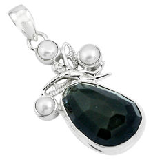 19.48cts natural rainbow obsidian eye silver angel wings fairy pendant p69607