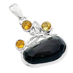 21.29cts natural rainbow obsidian eye silver angel wings fairy pendant p69611