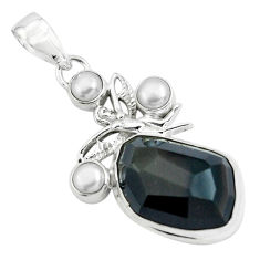 19.00cts natural rainbow obsidian eye silver angel wings fairy pendant p69613