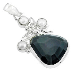 20.45cts natural rainbow obsidian eye silver angel wings fairy pendant p69617