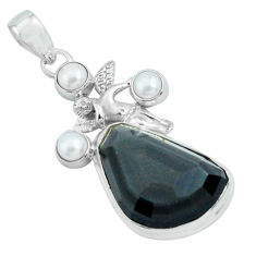 21.67cts natural rainbow obsidian eye silver angel wings fairy pendant p69636