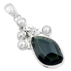 19.48cts natural rainbow obsidian eye silver cupid angel wings pendant p69610