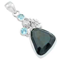 19.99cts natural rainbow obsidian eye silver cupid angel wings pendant p69633