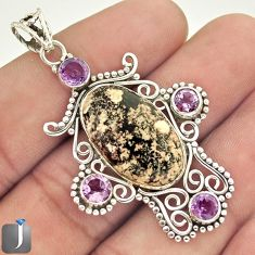 16.38cts NATURAL RED BIRDS EYE AMETHYST 925 STERLING SILVER PENDANT E20106