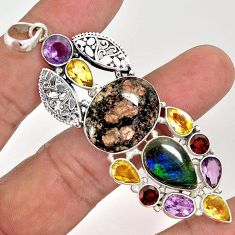 NATURAL RED BIRDS EYE AMMOLITE (CANADIAN) MULTI GEMS 925 SILVER PENDANT F68083