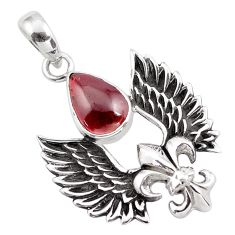 5.24cts natural red garnet 925 sterling silver feather charm pendant p86855