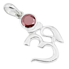 2.61cts natural red garnet 925 sterling silver om symbol pendant jewelry p73726