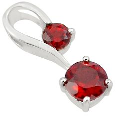 1.74cts natural red garnet 925 sterling silver pendant jewelry p82088