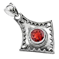 3.01cts natural red garnet 925 sterling silver pendant jewelry p86341