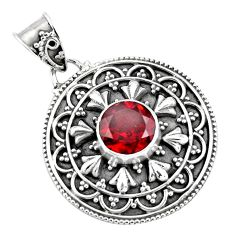 3.01cts natural red garnet round 925 sterling silver pendant jewelry p90247