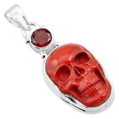 19.72cts natural red jasper garnet 925 sterling silver skull pendant p84473