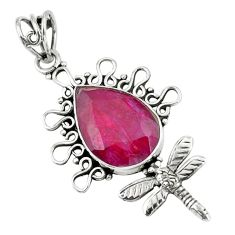 13.66cts natural red ruby 925 sterling silver dragonfly pendant jewelry p59725
