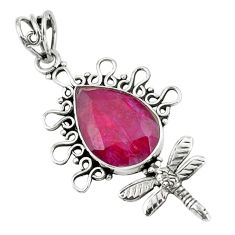 12.96cts natural red ruby 925 sterling silver dragonfly pendant jewelry p59763