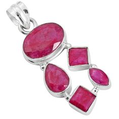 13.07cts natural red ruby 925 sterling silver pendant jewelry p34006