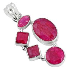 14.42cts natural red ruby 925 sterling silver pendant jewelry p34008