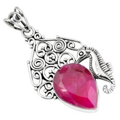 13.79cts natural red ruby 925 sterling silver seahorse pendant jewelry p59791