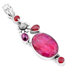 17.64cts natural red ruby garnet 925 sterling silver flower pendant p38980