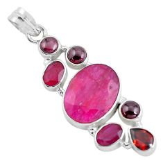 18.22cts natural red ruby garnet 925 sterling silver pendant jewelry d31949