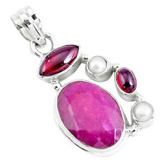 13.77cts natural red ruby garnet 925 sterling silver pendant jewelry p49382