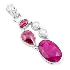 14.28cts natural red ruby garnet 925 sterling silver pendant jewelry p49392