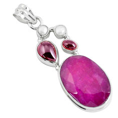 23.68cts natural red ruby garnet 925 sterling silver pendant jewelry p49399