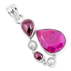 14.08cts natural red ruby garnet 925 sterling silver pendant jewelry p49408