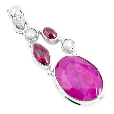 16.46cts natural red ruby garnet 925 sterling silver pendant jewelry p49410