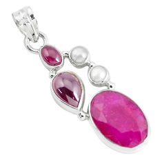 13.30cts natural red ruby garnet 925 sterling silver pendant jewelry p49414